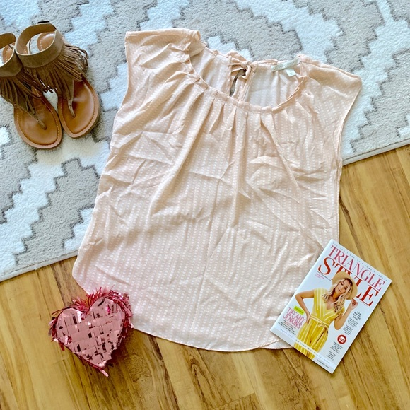 LC Lauren Conrad Tops - LC Lauren Conrad Blush Pink Heart Print Top Size M